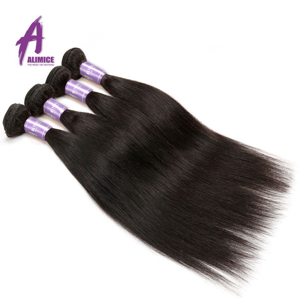 Alimice Hair Indian Straight Hair 8-26 inch Non-Remy Hair Extensions - Menneskehår (sort) - Foto 5