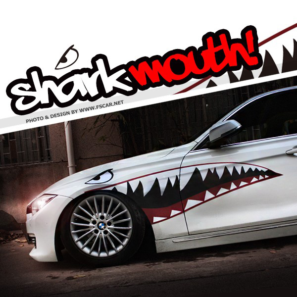 New 2015 cool shark mouth pattern vinyl sticker car whole body refit decor stickersdiy car styling for ford vw bmw and so on in car stickers from