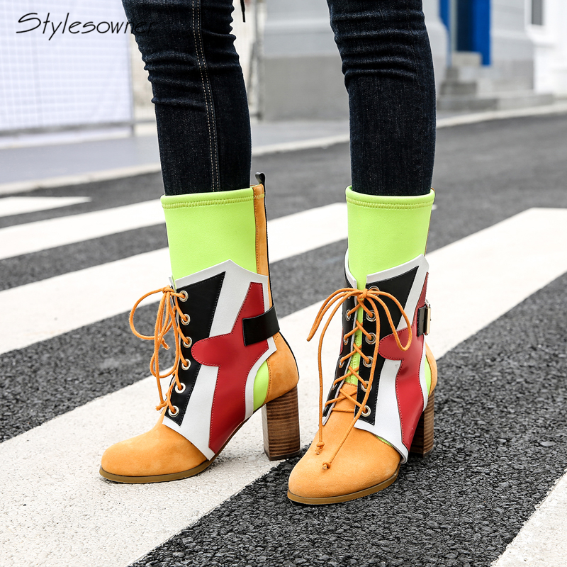 Stylesowner 2018 New Arrival Chunky Heel Lace Up Mid-Calf Boots Patchwork Elastic Sock Boots Women Slim Real Leather Retro Boots laconic women s mid calf boots with lace up and chunky heel design