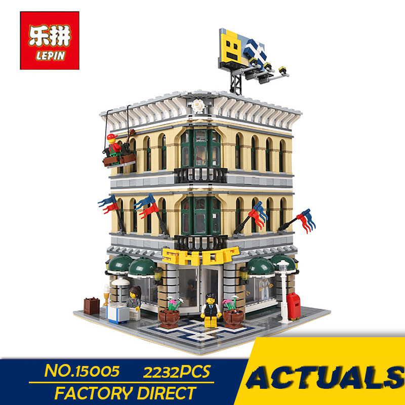 LEPIN 15005 2232PCS City Grand Emporium Model Building Blocks Kits Brick Toy Compatible with 10211 Funny Educational Brick Toys lepin 15018 3196pcs creator city series sunshine hotel model building kits brick toy compatible christmas gifts