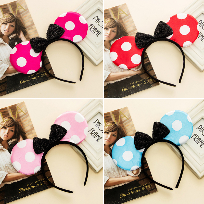 20pcs New Mickey minnie mouse ears headband Cute Headwear Mouse Ear Hair Band Headbands for birthday supplies Party Accessories