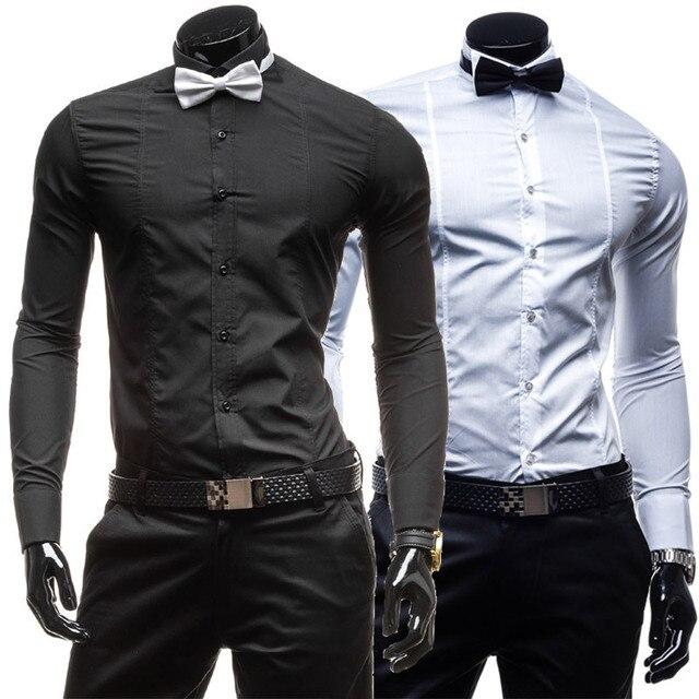 Бренд с галстук-бабочка цвет мужские платье рубашки длинный рукав приталенный Fit свободного покроя социальный Camisas Masculinas M-XXL