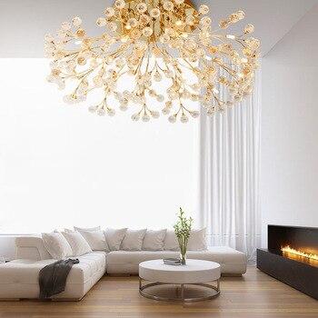 Luz de techo de cristal esmerilado estilo europeo para sala de estar dormitorio LED de control remoto de lujo lámpara Rosa iluminación del hogar