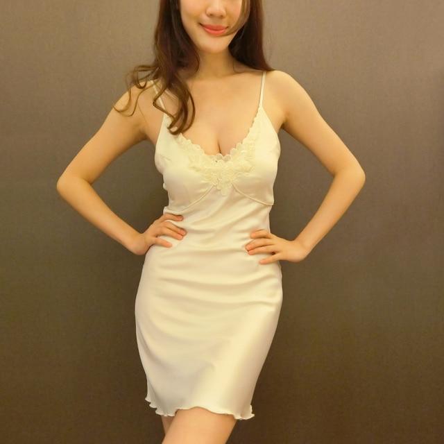 Nt sexy autumn and winter female sexy push up bra pad nightgown spaghetti strap sleepwear nightgown basic bra skirt