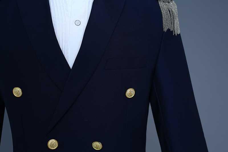 メンズキャプテン白スーツ (ジャケット + パンツ) ダブルブレストタッセルエポレットスーツブレザー男性新郎歌手パーティー衣装ジャケットオム