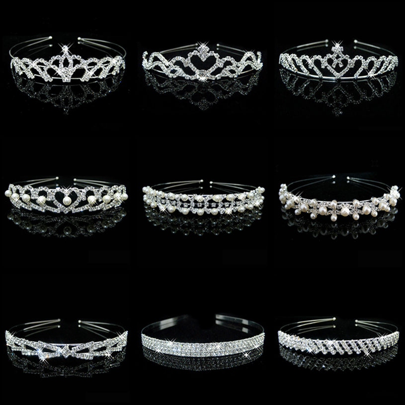 Hot Sale 18 Style Wedding Bridal Bridesmaid Silver Color Tiara Crown Hairband Heart Flower Girl Crystal Rhinestone Hair Jewelry