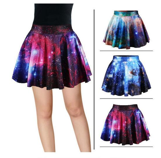 3D Print Galaxy Skirt Women High-Waisted Cratieve Cluster Space Galaxy Mini Skirts Cotton Elastic Skirts 2017 Hot Korea Europe