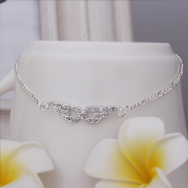 Wholesale Free Shipping silver plated Anklets silver plated Fashion Jewelry Eye shaped insets Anklets SMTA004