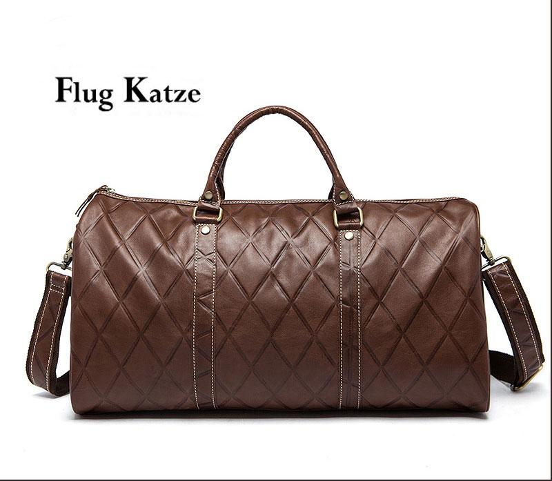 bf7387adf790 Flug katze High Quality Men Travel Bag genuine Leather Fashion Male Handbag  Vintage Shoulder Bag Brands Men Messenger Duffel Bag-in Travel Bags from ...