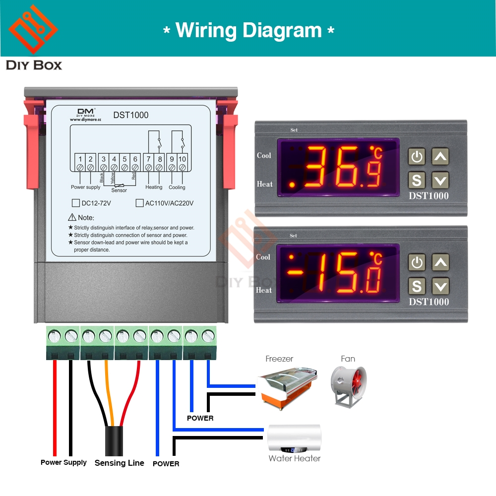 Ds18b20 Wiring Diagram Detail Feedback Questions About Dst1000 Dc 12v 72v Single Display 1 X Digital Temperature Control Controller Thermostat With Sensor Waterproof