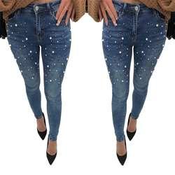 Для женщин Плотно обтягивающие джинсы жемчуг бисером спереди джинсы Весна-осень Высокая Талия молния летать Длинные повседневные джинсы