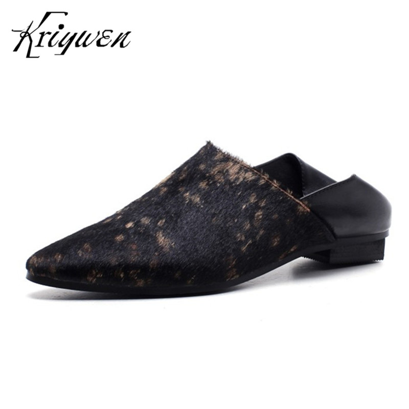Kriywen Brand Fashion Women Casual Flats Woman Horse Hair Mules Slip-On Solid Pointed Toe Shoes Sapato Feminino Casual Female fashion pointed toe women shoes solid patent pu brand shoes women flats summer style ballet princess shoes for casual crystal