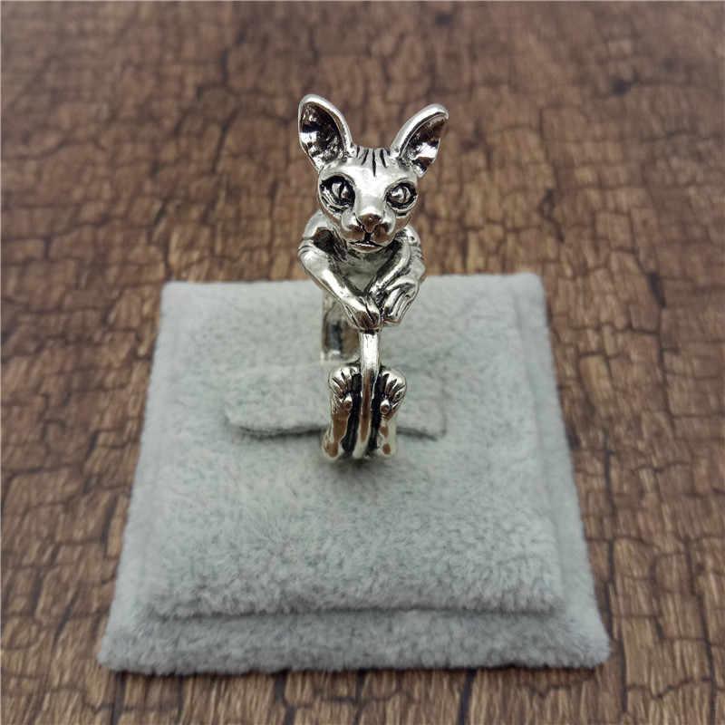 שדוני חדש בציר רטרו ספינקס טבעות אופנה חמוד חתול תכשיטי ספינקס טבעת עבור נשים גברים Anillos Mujer Warcraft