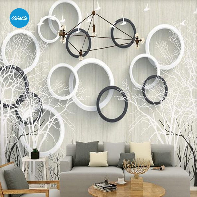 XCHELDA Custom 3D Wallpaper Design Circle White Tree Photo Kitchen Bedroom Living Room Wall Murals Papel De Parede Para Quarto kalameng custom 3d wallpaper design street flower photo kitchen bedroom living room wall murals papel de parede para quarto