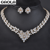 High Quality Romantic Yellow Gold Color Heart Shape Flower Crystal Necklace&Earrings Jewelry Sets Wedding Gift GLN0100