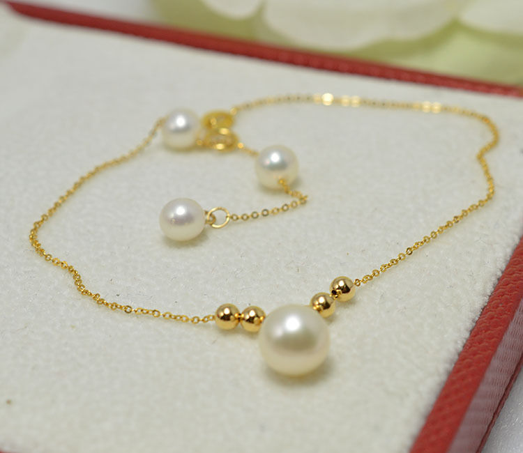 Solid 18k Yellow Gold Bracelet Pearl with O Link Chain Bracelet 28cm LSolid 18k Yellow Gold Bracelet Pearl with O Link Chain Bracelet 28cm L