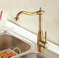 Newly Wholesale And Retail Deck Mounted Basin Faucet Vintage Antique Brass Bathroom Sink Basin Faucet Mixer