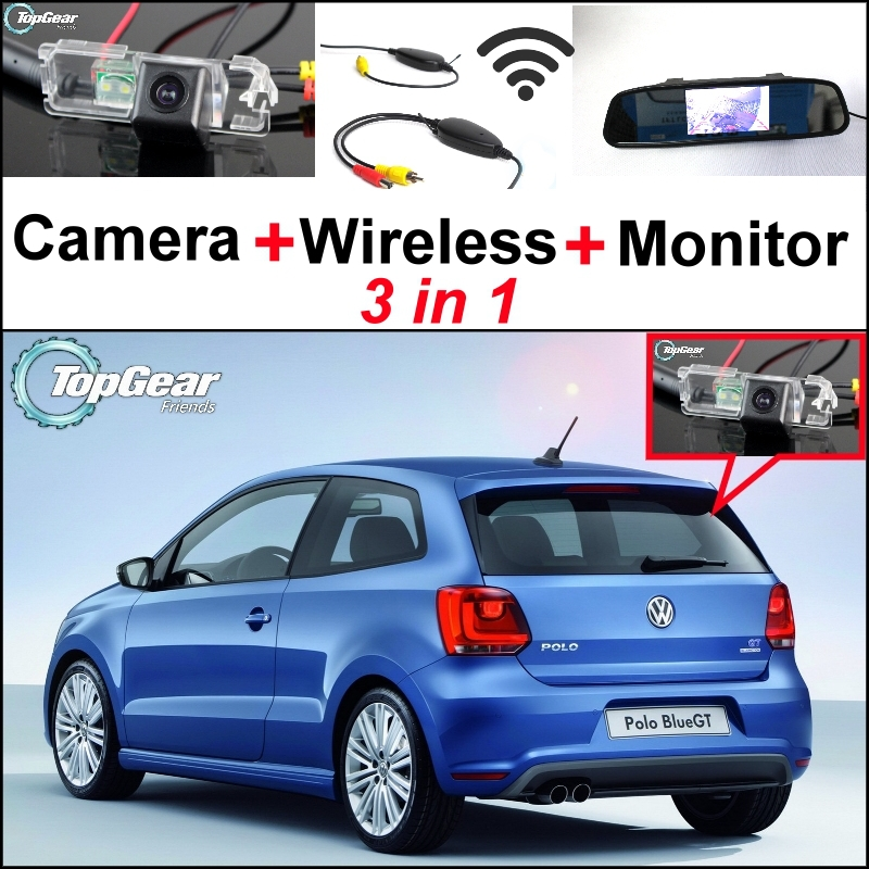 3 in1 Special Rear View Camera + Wireless Receiver + Mirror Monitor DIY Back Up Parking System For Volkswagen VW Polo GTi Derby 3 in1 special rear view camera wireless receiver mirror monitor back up parking system for honda jazz 5d 2002 2013