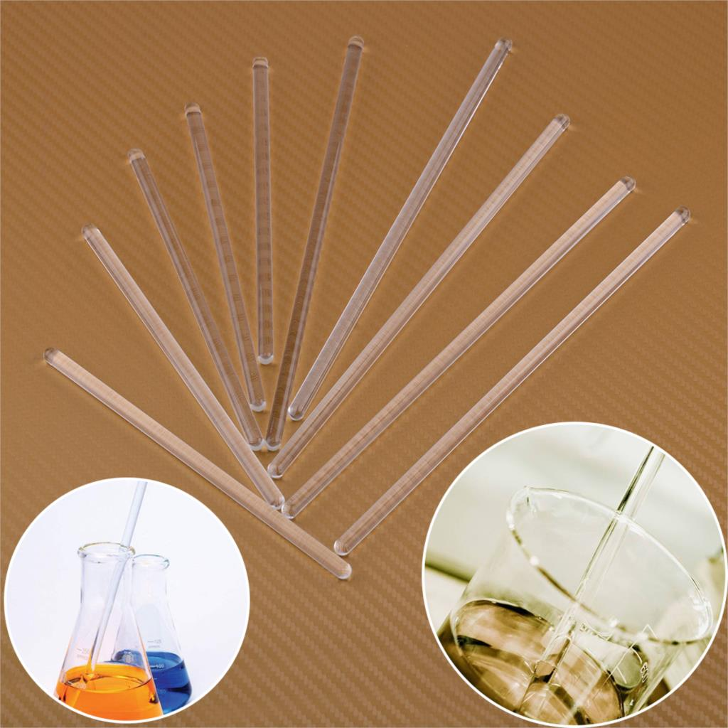 LETAOSK 5Pcs Clear Round Head Borosilicate Glass Stirring Rod For Laboratory Families Schools Factories Drainage Bar Mixer Work