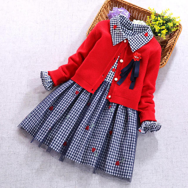 New Kids Sets For Girls Red Cardigan Sweater Coat And Long Sleeve Plaid Flower Dress Spring Autumn 2 pcs Set Girl Clothing