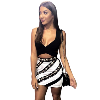 Casual Style Mini Skirts Suits Two Pieces Sexy Vest Crop Tops Zipper Mini Dress Skirt Two Pieces Set Sexy Party Dress Club wear