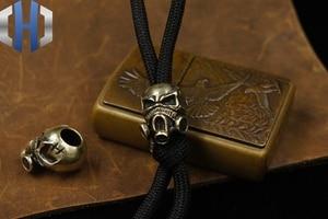 Image 5 - Paracord Beads Brass Skull Anti virus Mask Knife Beads Pure Copper EDC Pendant Beads DIY Flashlight Falls Rope Pendant Keychain