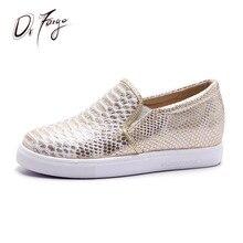 DRFARGO Горячие продажи змея кожи шаблон Круглым носком Пятки внутри увеличился Скольжения на женские Повседневные туфли Большой размер EUR 43