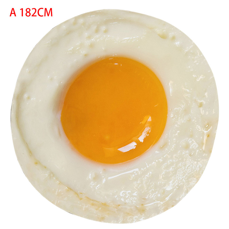Soft Round Flannel Blanket 122cm/152cm/182cm 1PC Poached Egg Comfort Realistic Food Novelty Throw Blanket Round Blankets 0411#30