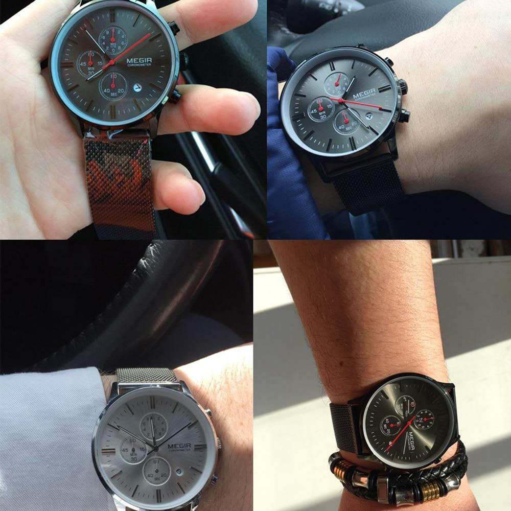 Moda simple elegante Top marca de lujo MEGIR Relojes hombres correa - Relojes para hombres - foto 4