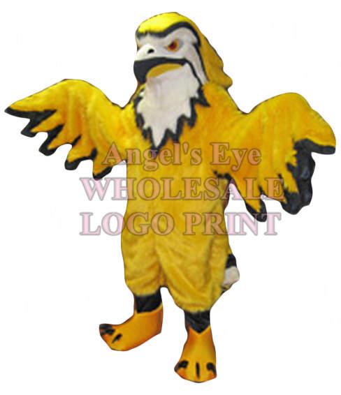 Thunderbird Mascot Costume Golden Yellow Long Plush Cartoon