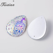 Drop Rhinestone Beads DIY Christmas Choker Earring Making Accessories AB  Color Stone Flatback Cabochons Resin 30 40mm c91bf539147a