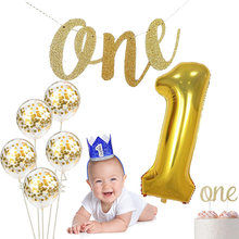 Baby boy girl 1st first one year old Prince princess Birthday Party hat Cake Topper High Chair Decoration Supply gift photo prop(China)