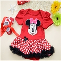 Baby Fashion Cotton Package ass clothing with Cartoon pattern Chiffon Dots Skirt Red Ribbon Shoes Newborn baby Dots Bow Headband