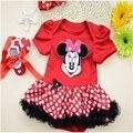 Moda bebê de Algodão Pacote ass roupas com Desenhos Animados padrão Chiffon Dots Skirt Red Ribbon Shoes bebê Recém-nascido Dots Bow Headband