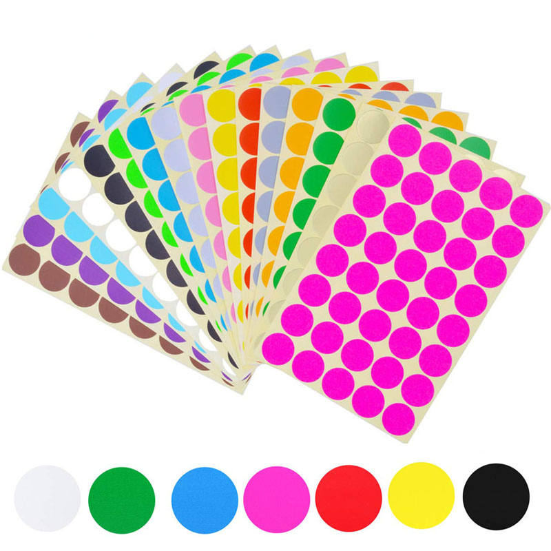 Round Stickers In 7 Assorted Colors Colored Sticker Dots Coding Circle Dot Labels Diameter 6mm 8mm 10mm 13mm 19mm 25mm