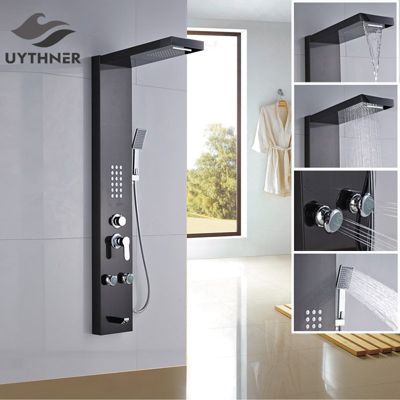 Newly Luxury Shower Column Shower Panel w Hand Shower Massage Jets Plate Shower Faucet Oil Rubbed