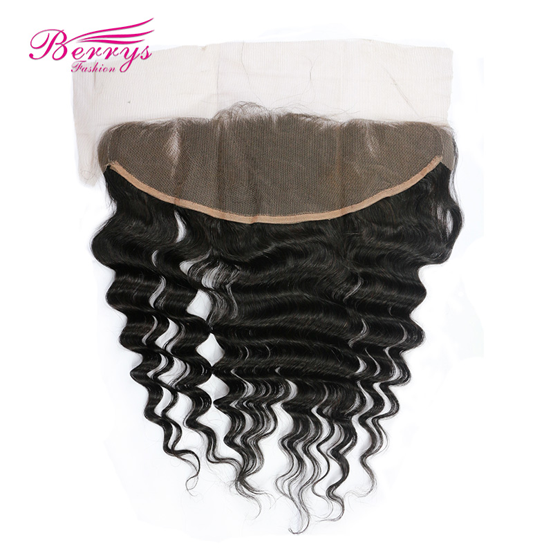 [Berrys Fashion] Lace Frontal Closure Peruvian Loose Wave 13x4 Lace Frontal Virgin Human Hair  Natural Hairline Bleached Knots-in Closures from Hair Extensions & Wigs    1