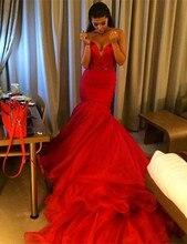 Luxus Red Mermaid Liebsten Prom Kleider 2016 Lange Chaple Zug Perlen Schnelle Lieferung China Prom Kleider Vestido De Festa