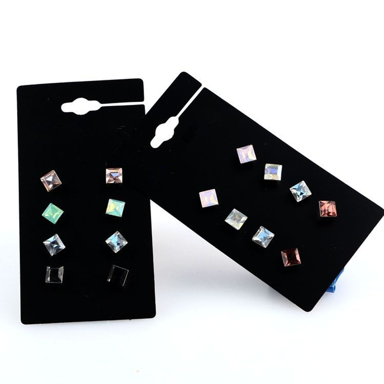 Claire fashion accessories stud earring pack set 4 pairs Square Crystal Sutd Earring gift for women broncos