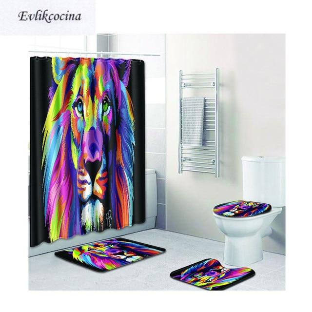 Free Shipping 4pcs Colored Lion Banyo Bathroom Carpet Toilet Bath Mats Set Tapis  Salle De Bain Alfombra Bano Tapete Banheiro