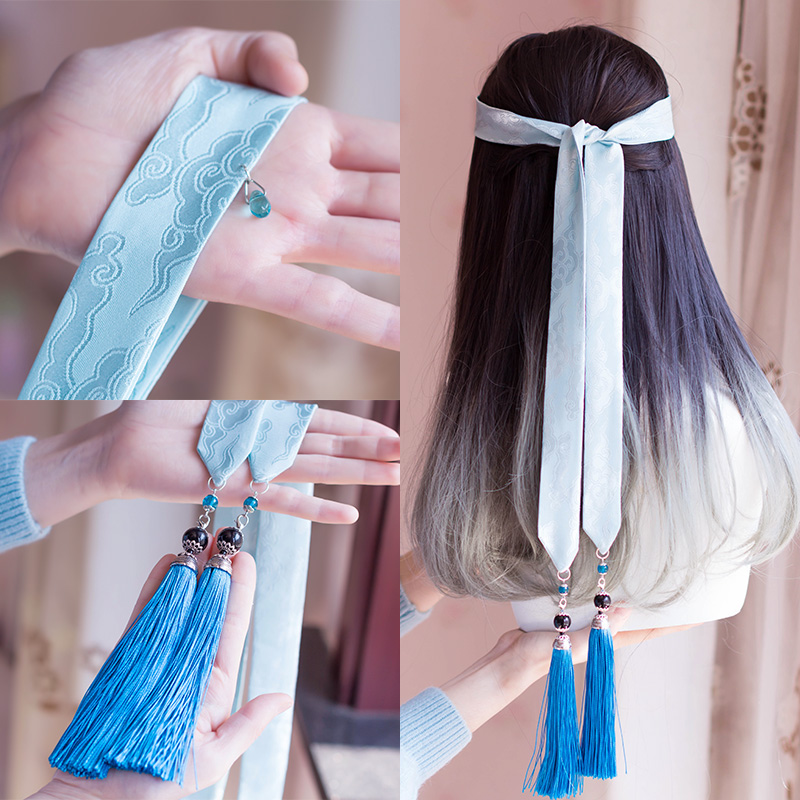 Antique Volume Moire Hanfu Hair Band Super Fairy From Frontal Hairdo Tassel Hair Rope Daily Ribbon Restoring Ancient Ways