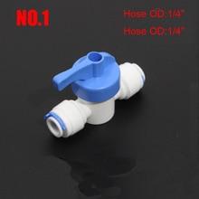 """RO водный прямой 1/"""" 3/8"""" OD шланг быстрое соединение контрольные фитинги пластиковый водяной шаровой клапан Reveser осмос аквариумные фитинги"""