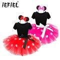 2017 Mais Novo Presente de Natal para Crianças Minnie Mouse Festa Fantasia Traje Cosplay Meninas Ballet Tutu Dress + Ear Headband 12M-8A
