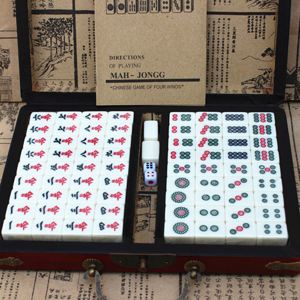 144 Tiles Mah-Jong Set Portable Chinese Toy With Box Fiber Board For Fun Outdoor Camping Chinese Numbered Mahjong Set