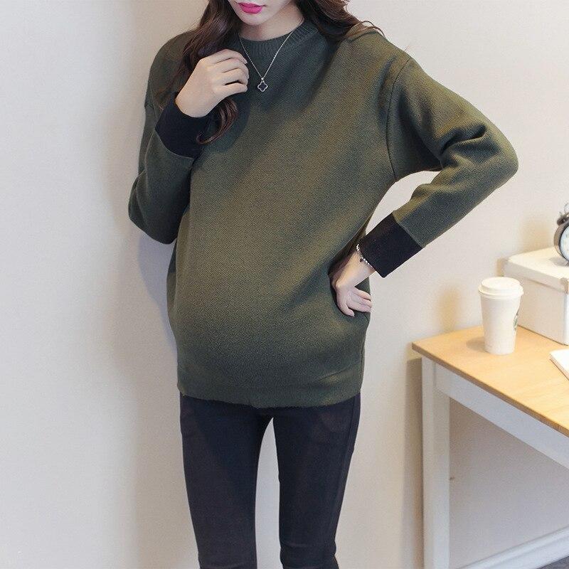 Chaud loisirs tricot maternité chandail maternité vêtements 2 couleurs à manches longues femmes enceintes décontracté maternité chandail pull
