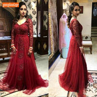 Vintage Burgundy Mermaid Dresses Prom Long Sleeves Lace Appliques Prom Dress Tulle Floor Length Customized Banquet Evening Gowns