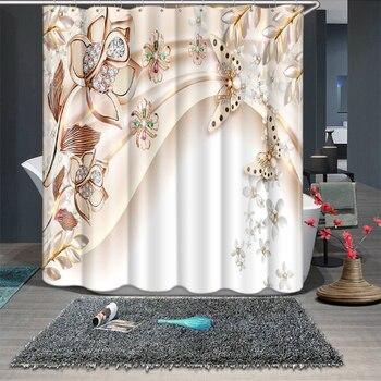 Cortinas de ducha con patrón de flor de loto y mariposa de diamante en 3d, cortina de baño gruesa impermeable