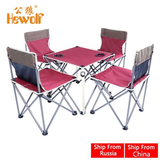 Hewolf Folding Beach Table and Chair Sets Burgundy Integrated Design High Stability for Outdoor Camping Activities 5Pcs/Set New