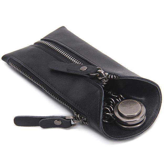 CONTACT'S 100% Genuine Leather Key Wallet Men Car Key Holder Zipper Keys Case Top Quality Male Man Housekeeper Keys Organizer 4