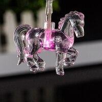 Ano novo Partido Fornecedores Animais Cavalos Luzes Da Corda de Fadas Cor De Rosa Transparente Cristal mini Iluminação Corda Decoração Da Casa de Sonho